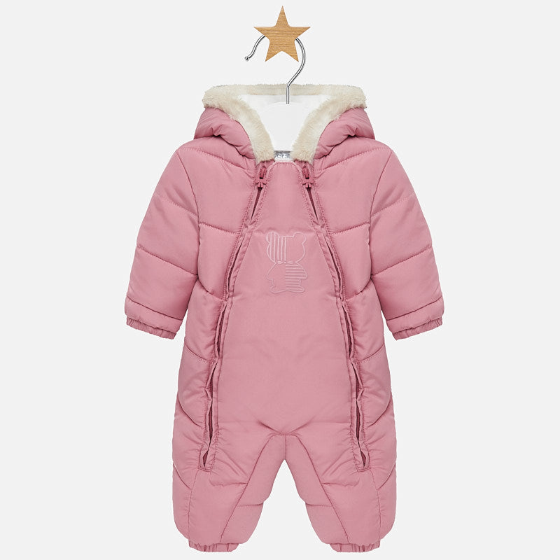 Mayoral Baby Pink Padded Satin Snowsuit