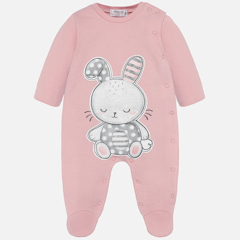 Mayoral Newborn Pink Cotton Bunny Babygrow