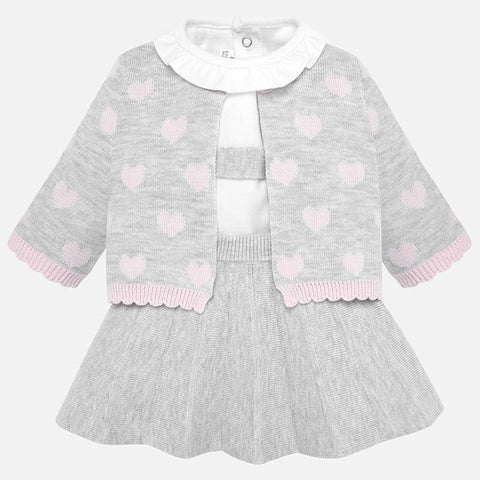 Mayoral Newborn Grey & Pink Cotton Skirt Set