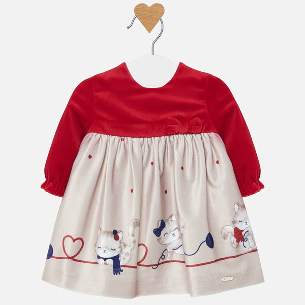 Mayoral Baby Girl Velour Red Dress with Kitty Print