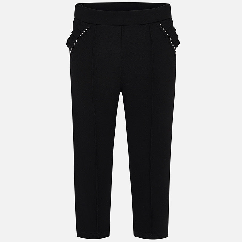Mayoral Girls Black Viscose Jersey Trousers