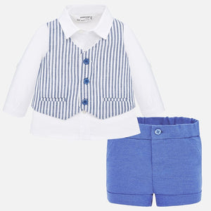 Mayoral Striped Vest 3-Piece Layette Set