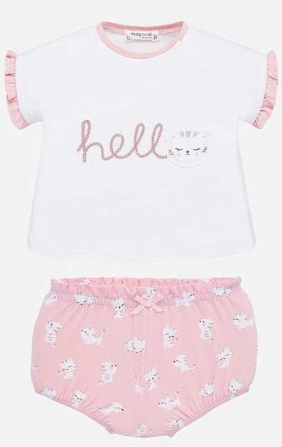 Mayoral Girls Cat Short Set Pink