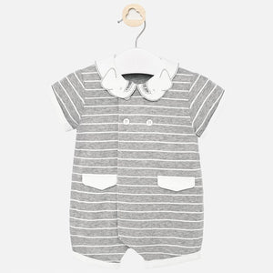 Mayoral Grey and White Striped Jumper with Elephant Collar