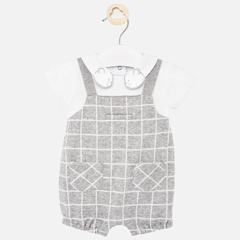 Mayoral Grey Checker Shortall with Bear Collar