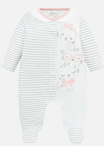 Mayoral White and Grey Shimmer Striped Cat Onesie