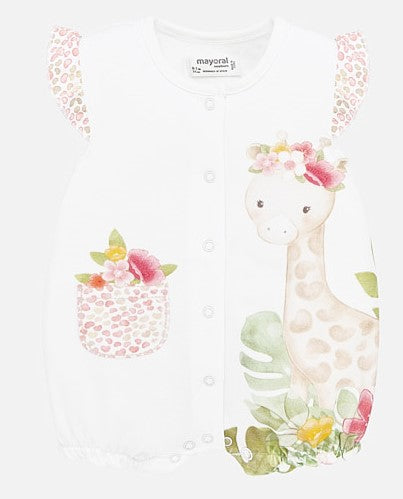 Mayoral Babygrow Girls Tropical Giraffe Graphic