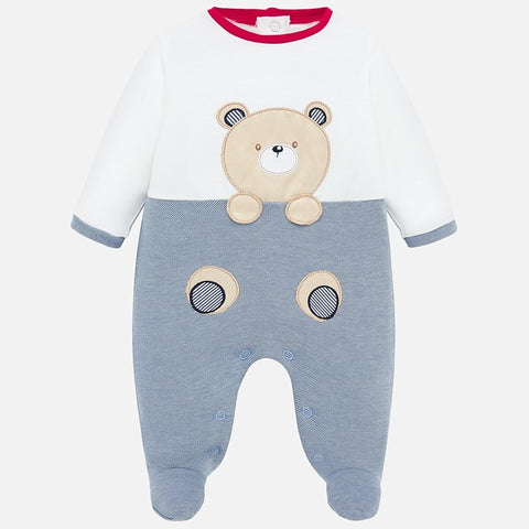 Mayoral Bear Cotton Blue Onesie