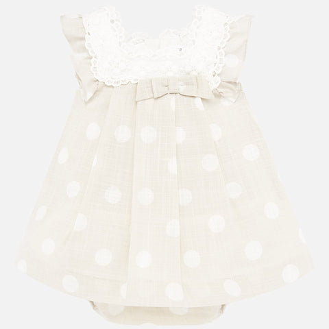 Mayoral Beige Polka Dot Dress Set