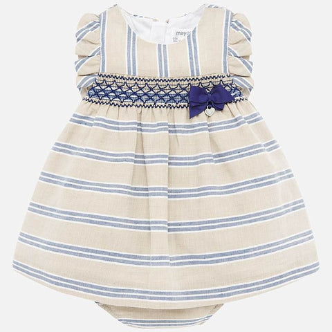 Mayoral Smocked Inset Stripe Dress with Bloomers