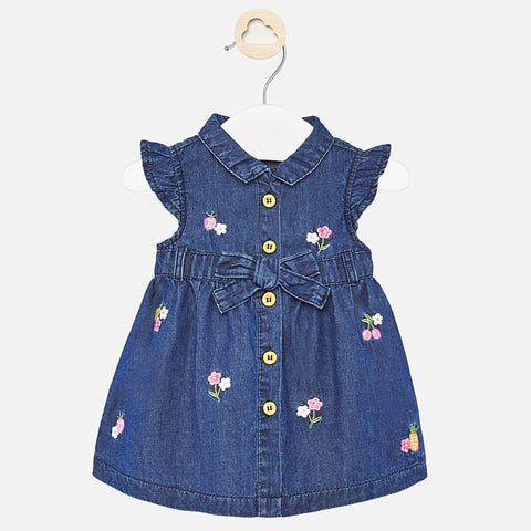 Mayoral Dark Denim Dress with Embroidered Flowers