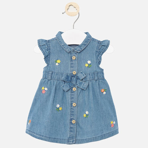 Mayoral Girls Denim Dress with Embroidered Flowers