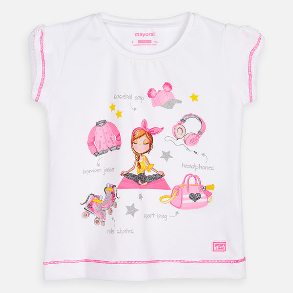 Mayoral Girls White Cotton Sporty Graphic T-Shirt