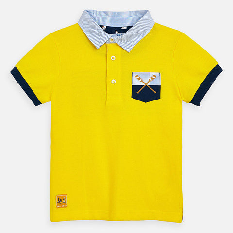 Mayoral Boys Polo Shirt with Back Flag Graphic