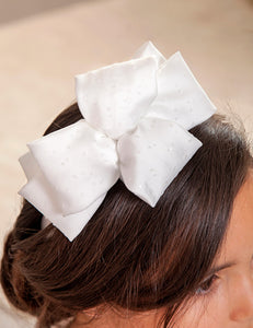 Abel & Lula Satin White Sparkle Bow