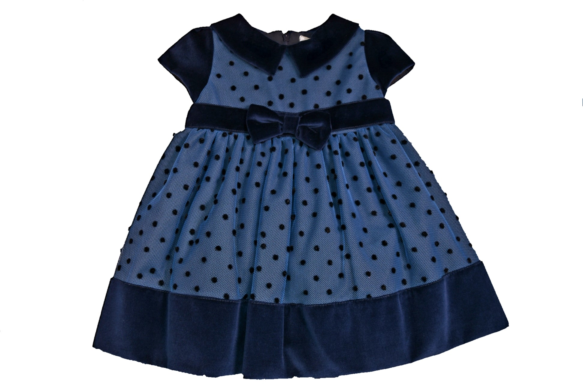 Bimbalo Blue Polka Dot Dress with Navy Velvet Trim