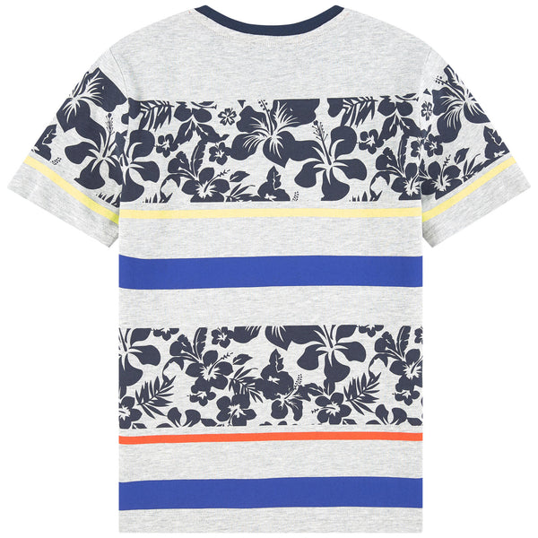 HUGO BOSS Boys Striped Hibiscus T-Shirt