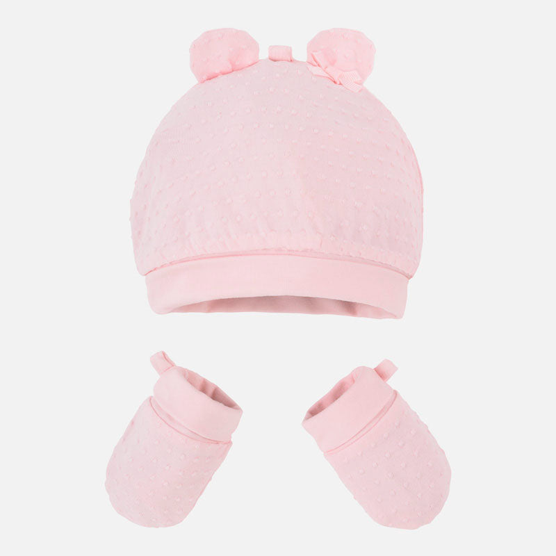 Mayoal Baby Girls Hat & Mittens Set Pink