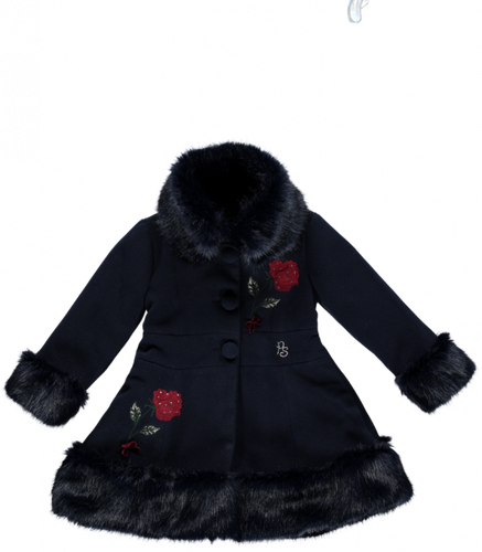 Piccola Speranza Girls Navy Blue Coat with Fur