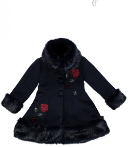 Пиккола Speranza Girls Navy Blue Coat with Fur