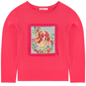 Billieblush Girls Long Sleeve Applique T-shirt