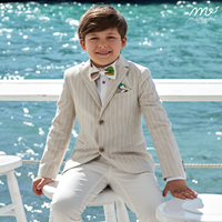 Mamemi Striped Structured Notch Lapel Suit Sand