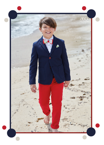 Mamemi Lounge English Cut 4pcs Suit Navy/Red