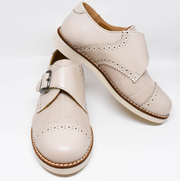 Gux's Boy Linen & Leather Shoes with Velcro Ivory