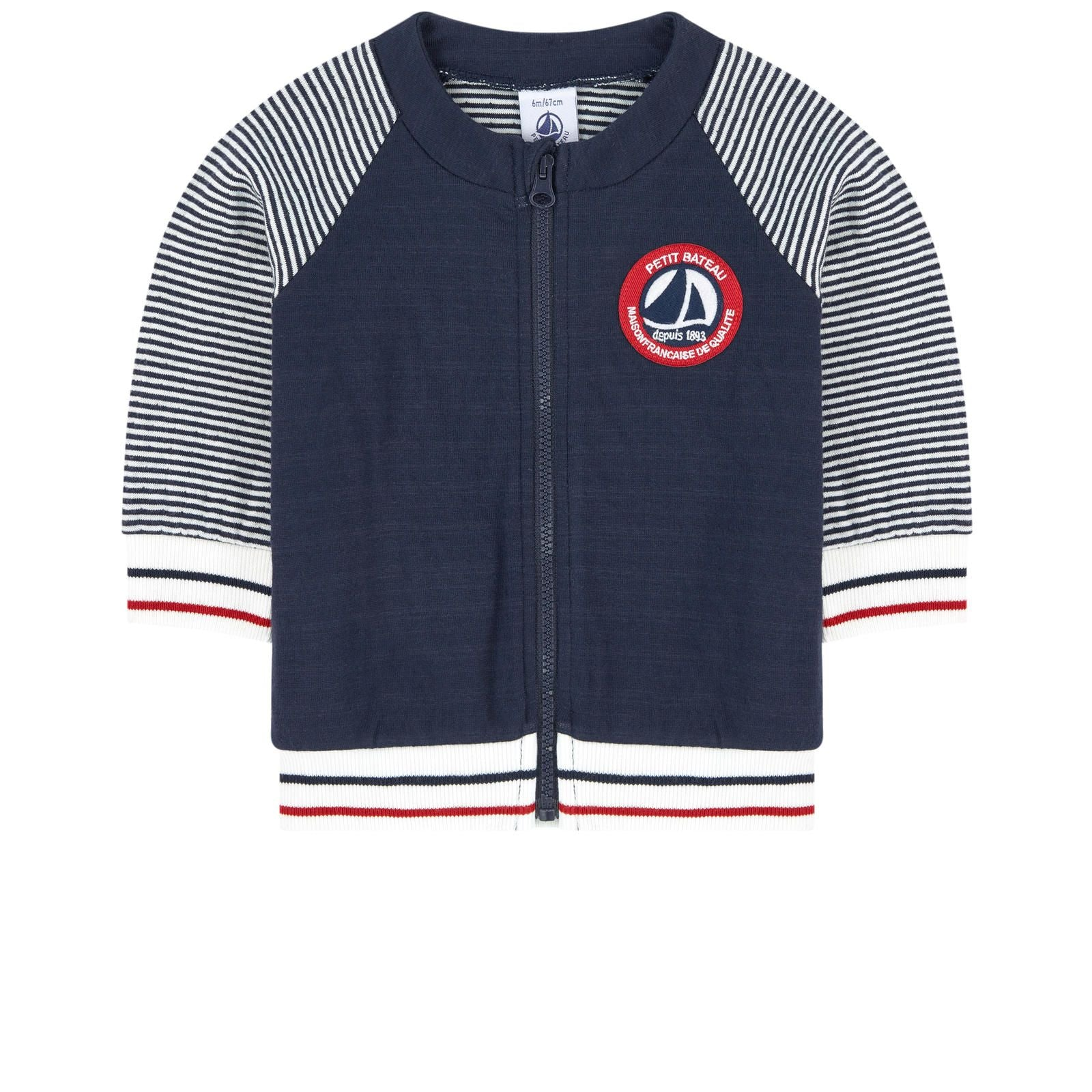 Petit Bateau Blue & White Zip-Up Top