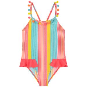 Billieblush Striped Pom Pom One-Piece