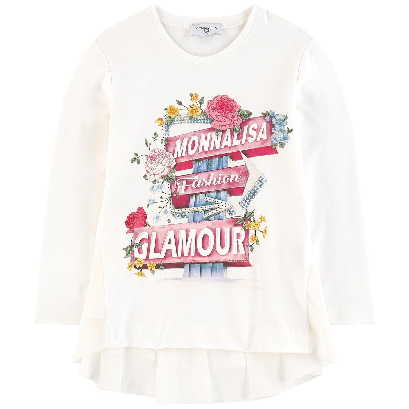 Monnalisa Girls Glamour Cotton & Chiffon Floral Top