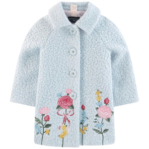 Monnalisa Blue Bouclé Knit Coat