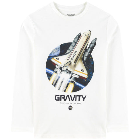 Mayoral Nukutavake Boys White Gravity Rocket Print Top