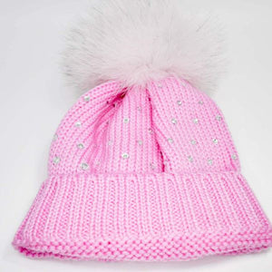 Bimbalo Hat with Fur and Crystals Pink