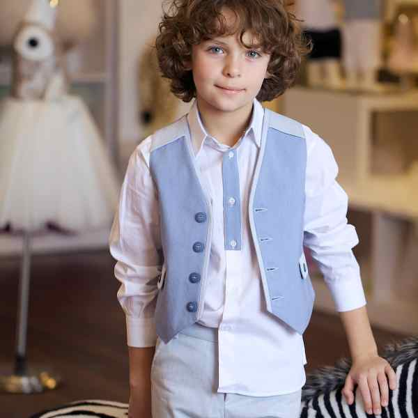 Gattimatti Boy Suit Set Blue/White