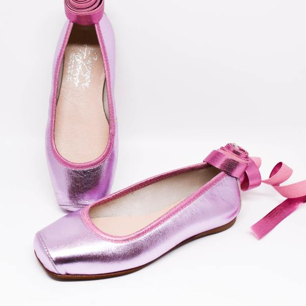 Carmen Taberner Ballerina Shoes Metallic Pink