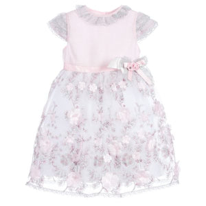 Piccola Speranza Girl Pink & Silver Lace Dress