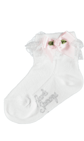 Piccola Speranza Ivory Socks with Bow and Pink Flower
