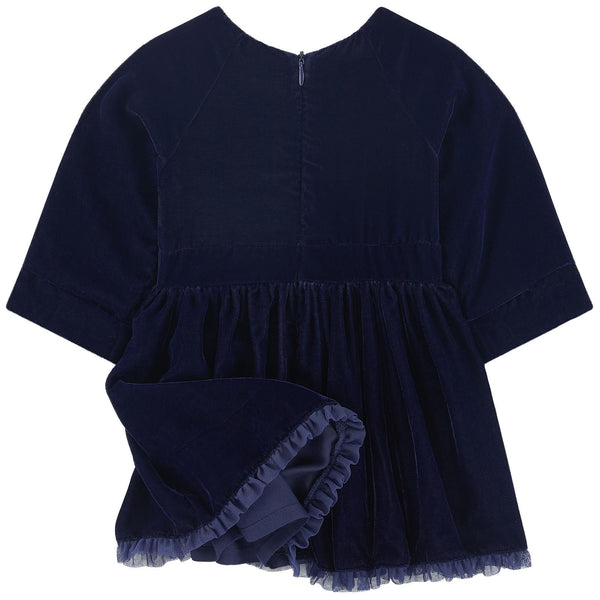 Billieblush Girls Navy Blue Velvet Dress