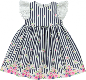 Piccola Speranza Navy Stripe Floral Dress