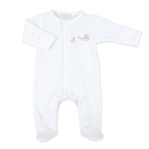 "Magnolia Baby ""Worth The Wait"" White Footie"