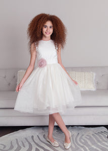Lady & Lord White Tulle Dress with Flower