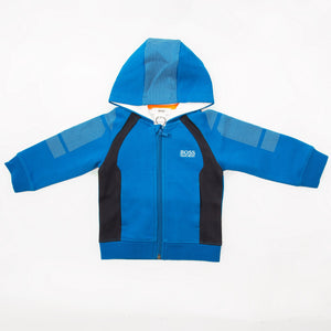 BOSS Boys Blue Color-block Jersey Tracksuit