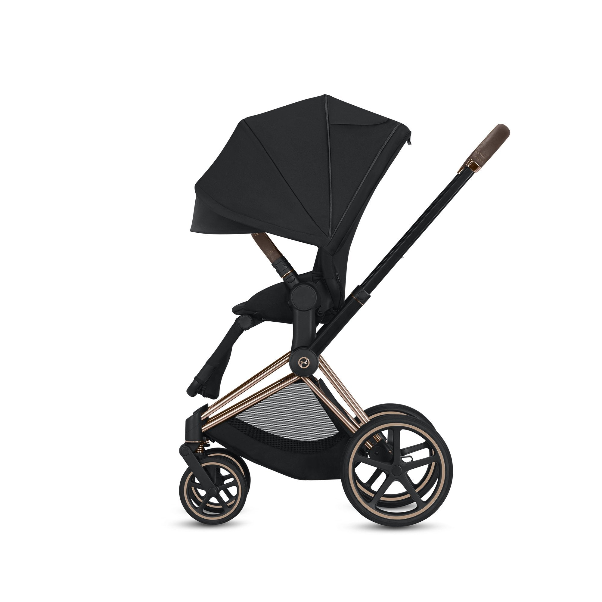 Cybex Priam Complete Stroller Plus Bassinet, Black - Rose Gold