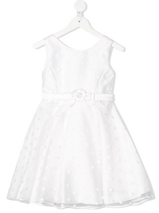 Abel & Lula Polka Dot Dress in White