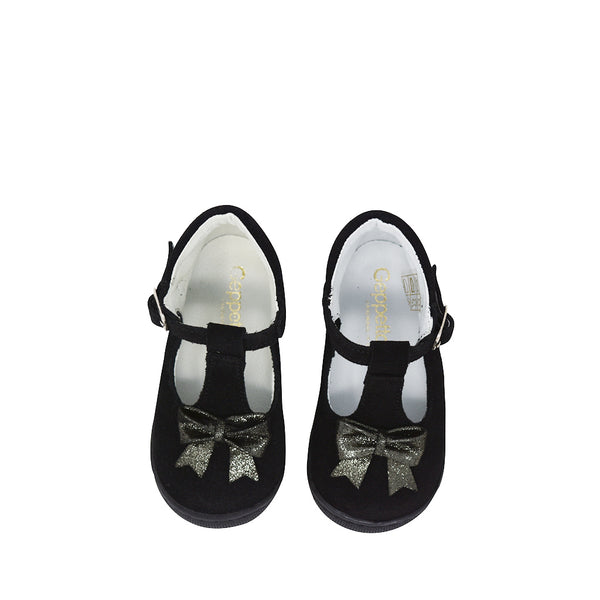 Geppettos Toddler Girls Black Suede Walkers