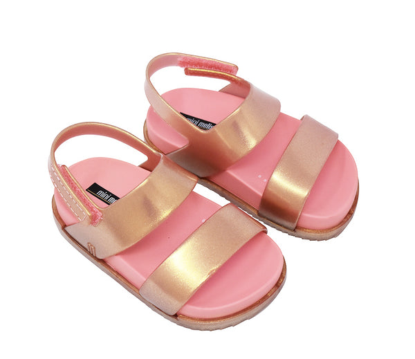 Mini Melissa Rose Gold Double Strap Jelly Sandals