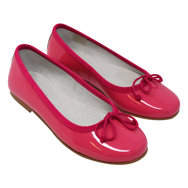 Geppetto's Girls Hot Pink Leather Ballerina Shoes