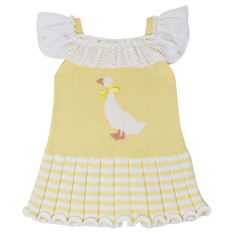 Carmen Taberner Girls Yellow Knit Duck Dress