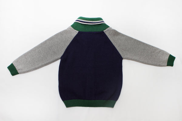 Dr. Kid Boys Knitted Cardigan with Green Shawl Collar